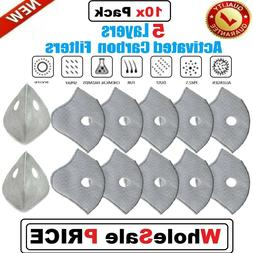 10 Pack For PM2.5 Activated Carbon Cycling Mask Filter Repla