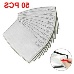 50 PCS PM2.5 Adult 5 Layer Activated Carbon Filter Replaceme