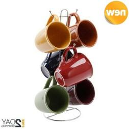 Gibson Contempo Hues 7 Piece 15-Ounce Mug Tree Set with 6 As