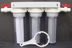 "Clear 10"" Whole House 3 stage filtration water system 3/4"" p"