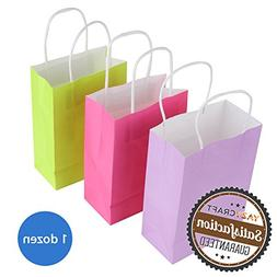 YazyCraft 12 pcs Craft Paper Gift Bags 6 x 7""
