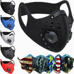 Face Mask Reusable Sport Cycling Cover Dual Air Valve W/ Act