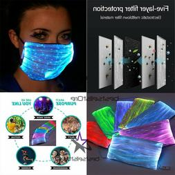 Fiber LED Color Glowing Face Mask USB Rechargeable with repl