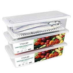 Food Storage Containers, 3 x 1.5L Fridge Organizer with Cola