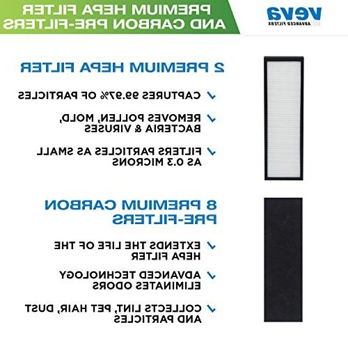 VEVA 2 Filters 8 Pack of Pre-Filters with Air Purifier 4800, and Filter