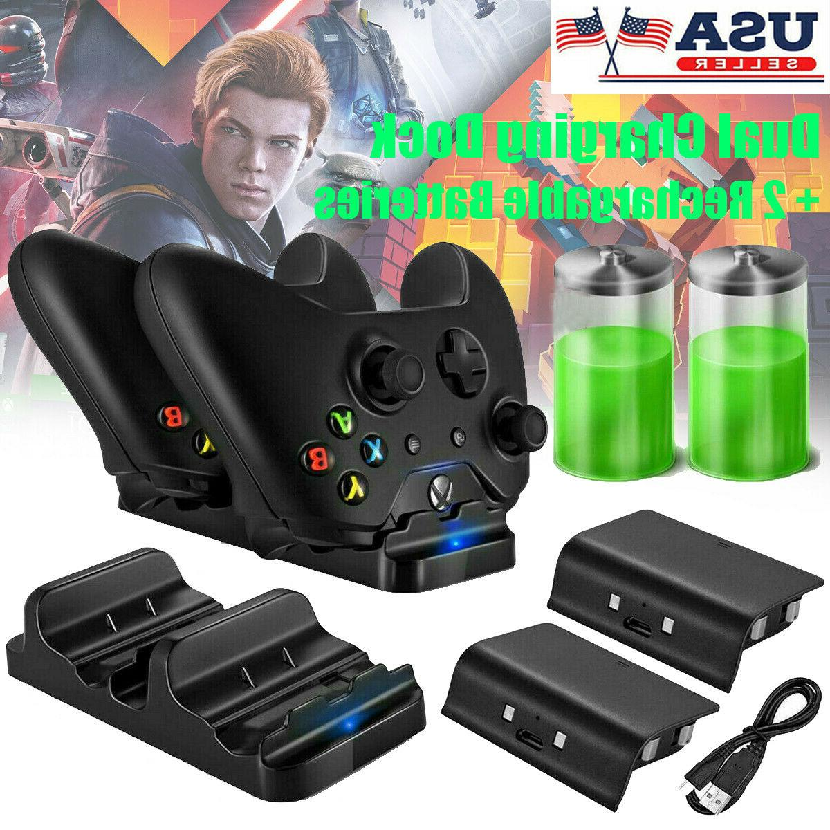 XBOX ONE Dual Charging Dock Station Controller Charger + 2 R