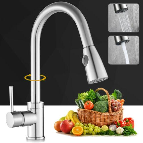 Brushed Nickel Kitchen Faucet Swivel Single Hole Sink Pull D