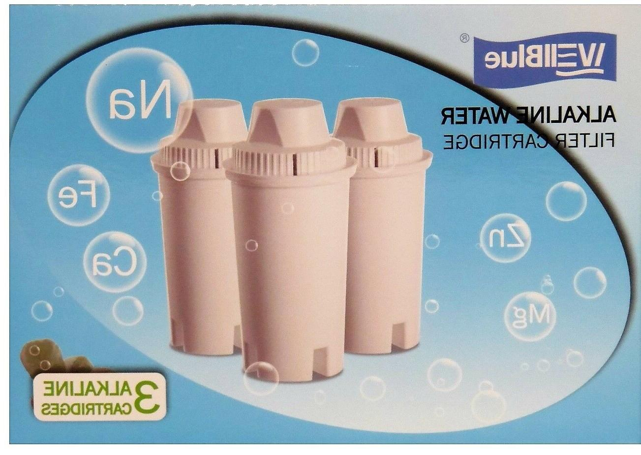 3 Pack Alkaline 7 Stage Drop In Brita Style Water Pitcher Fi
