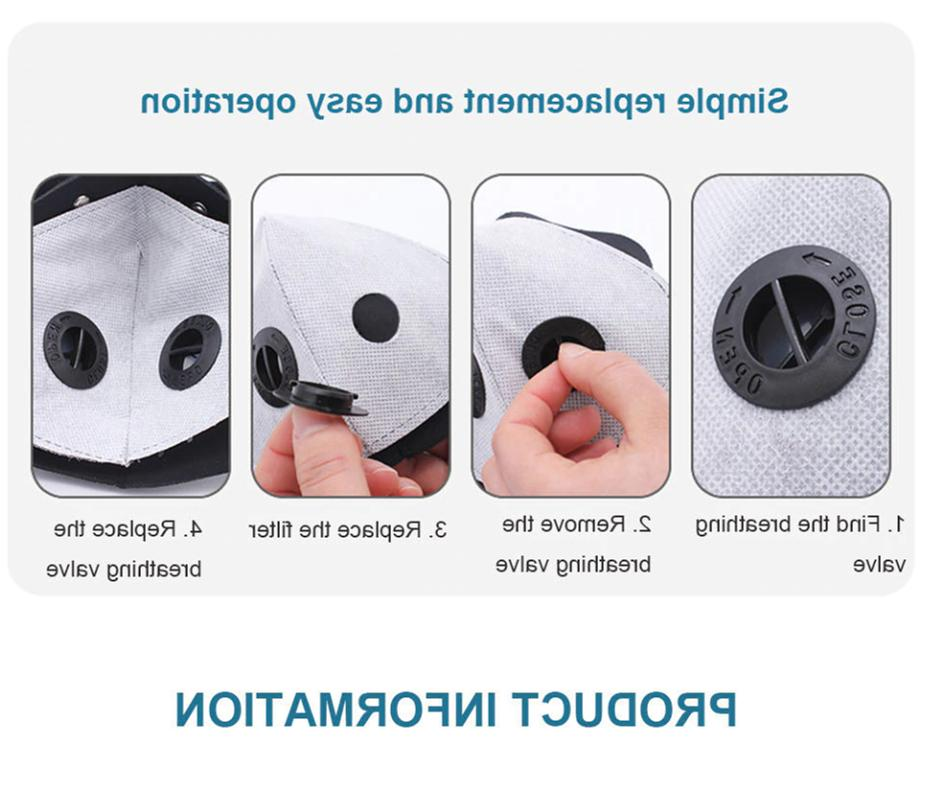 Face Mask Cycling Valve Carbon Filter