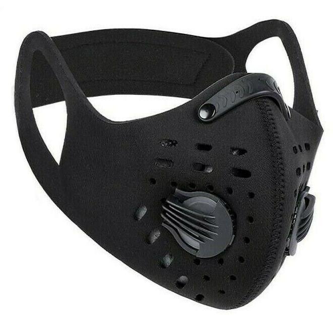 Face Mask Reusable Sport Cycling Dual Air Valve W/ Filter