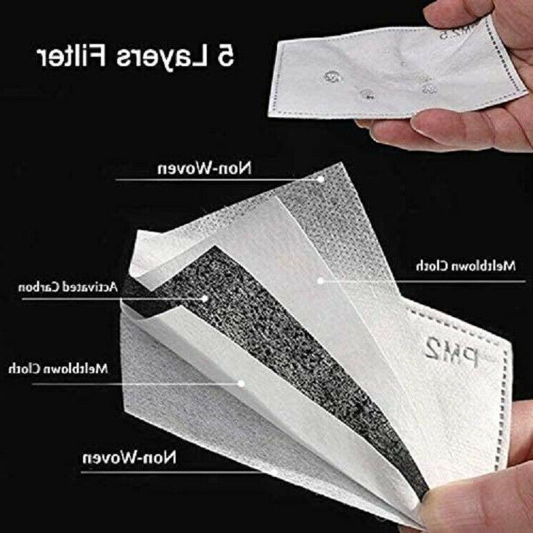 Reusable Face Replaceable PM2.5 Carbon 5 Layer 10-50pcs