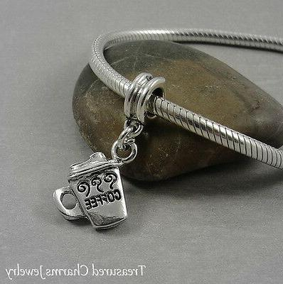 Silver COFFEE MUG Beverage Dangle Bead CHARM fits EUROPEAN B