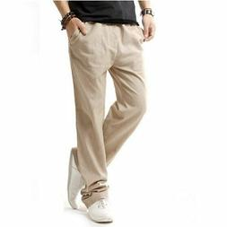 HOEREV Men Casual Beach Trousers linen  Summer Pants Beige M