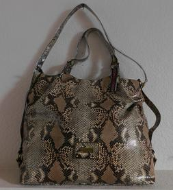 New Comsi Comsa travel satchel bag faux leather snake skin/s