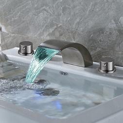 Widespread Brushed Nickel LED Waterfall Bathroom Basin Fauce